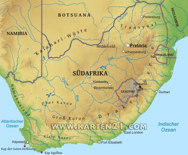 Physische karte von südafrika